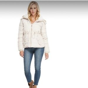 Guess Womens Glimmer Cinched Short Puffer